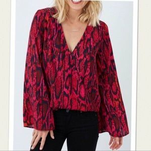 Eight Sixty Pink Snake Print Bell Sleeve Top